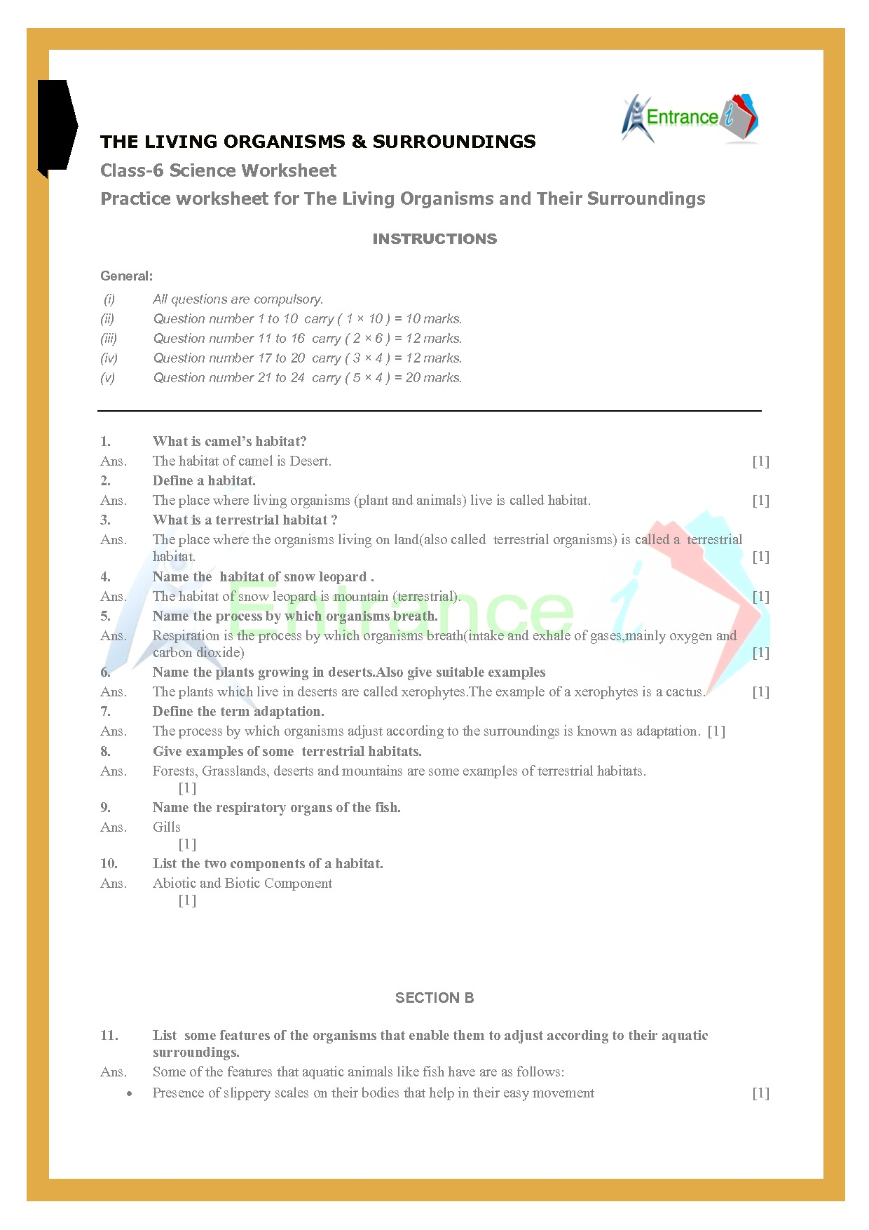 Class 6 Science Worksheets Chapter 9 The Living Organisms