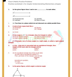 Class 6 maths chapter-5 Understanding Elementary Shapes Questions \u0026  worksheet with solutions [ 1754 x 1240 Pixel ]