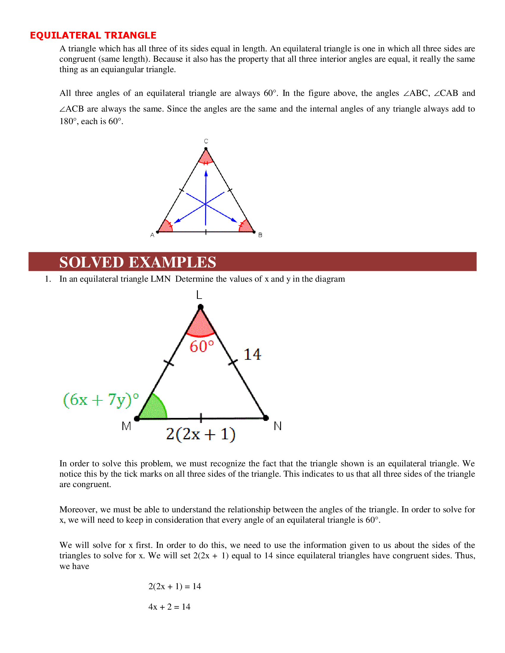 Equilateral Triangle Area