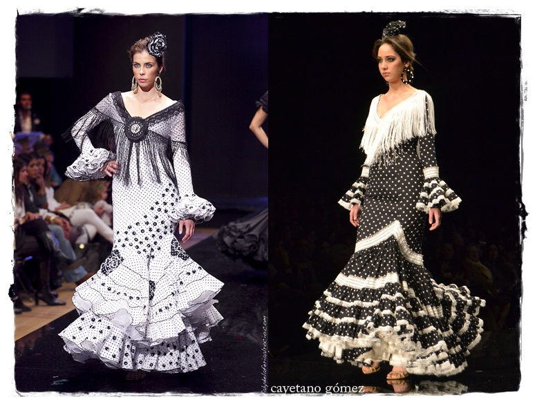 Trajes de flamenca negro lunar blanco