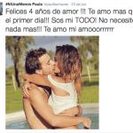 Paula Chaves y Peter Alfonso celebraron cuatro años de amor
