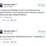 Marcelo Tinelli, enojadísimo con WhatsApp por incorporar la bandera de Reino Unido para las Malvinas