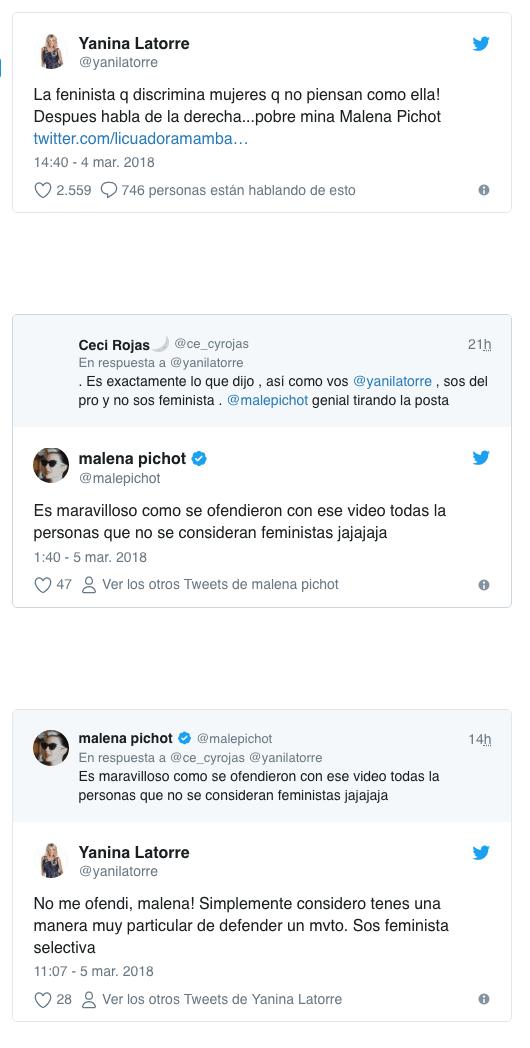 Yanina Latorre contra Malena Pichot