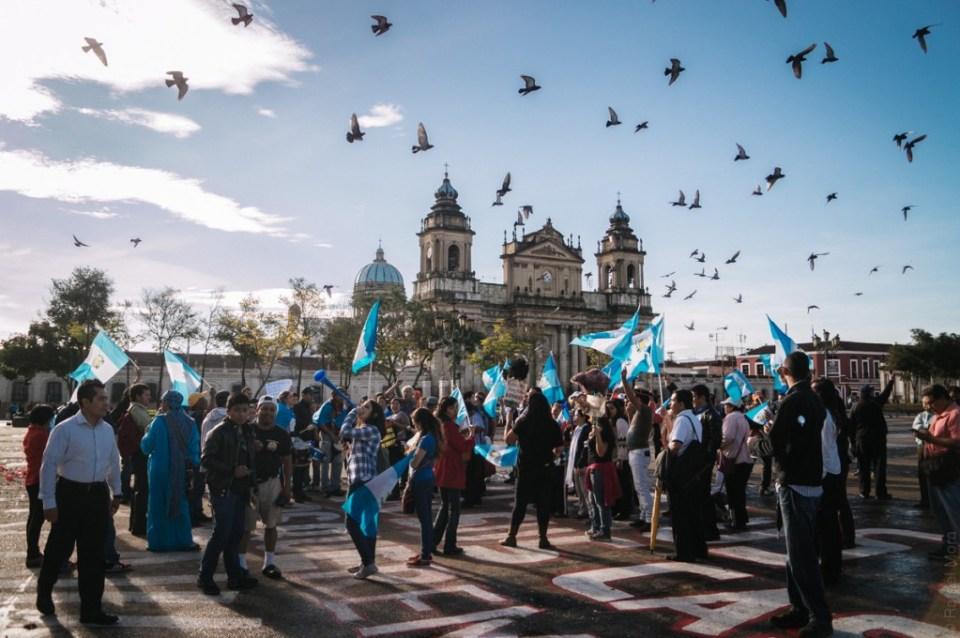 Plaza central de Ciudad de Guatemala. Foto por: Rafael Mora #JusticiaYa