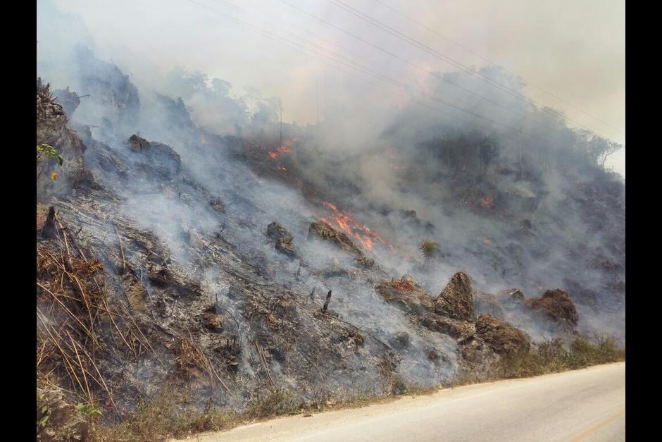 Incendio activo en Petén. Foto: CONAP