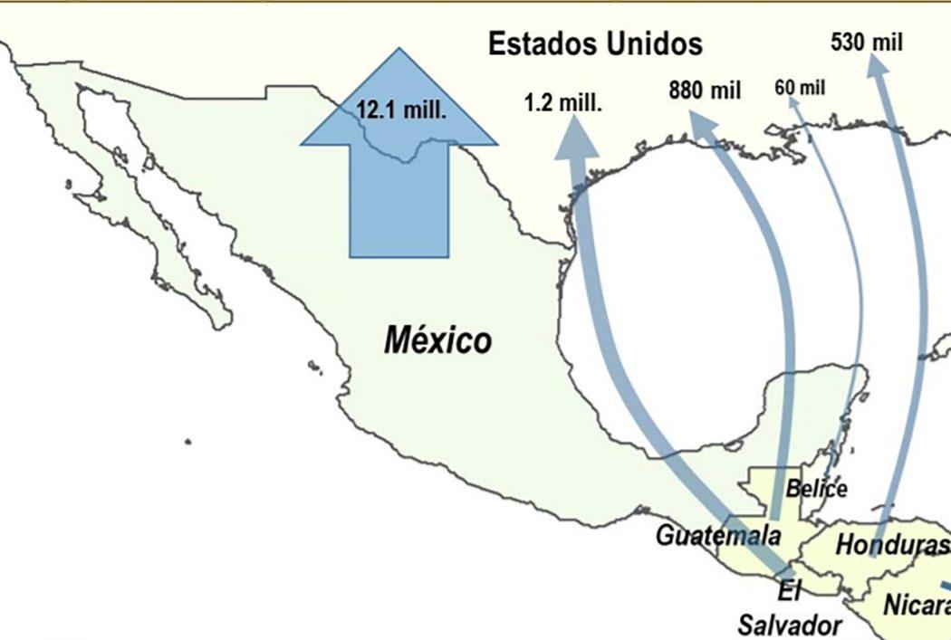 Pag. 23 Map from the document Panorama de la Migración Internacional en México y Centroamérica, 2015 – CEPAL, OIM. Note – Numbers have changed up to 2020