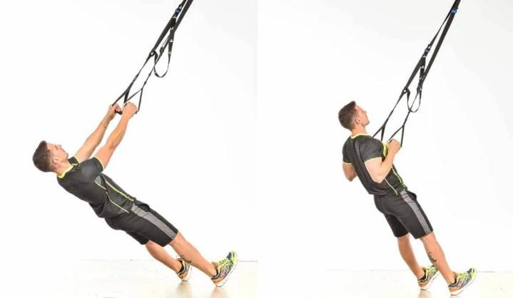 remo en suspensión con TRX para fortalecer la espalda