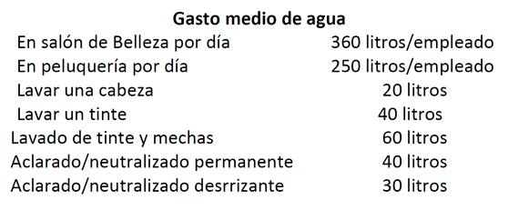 gasto medio de agua según servicios en una peluquería
