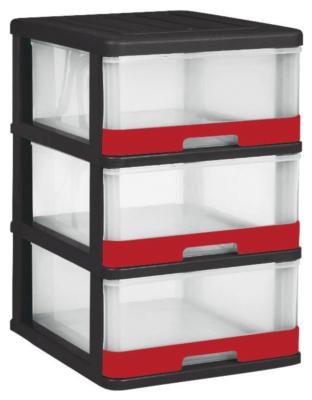 tour hercule 3 tiroirs noir et rouge