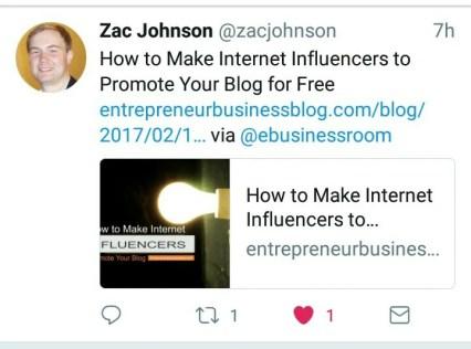Zac Johnson tweeted Entrepreneur Blog post
