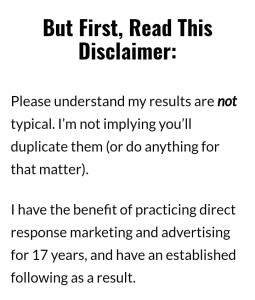 Write disclaimer like marketing expert Frank Kern