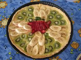 Tarta de kiwi, plátano y freson