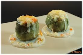 Alcachofas rellenas de bechamel y queso