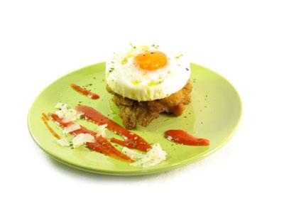 Huevos a la plancha con pisto de pimiento