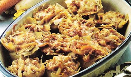 Alcachofas rellenas de pie de cerdo