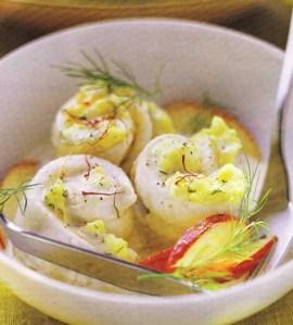 Rollitos de pescado al azafrán