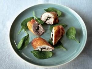 rollitos de pollo con espinacas