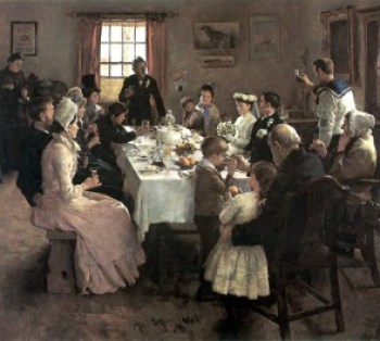 """Stanhope Alexander Forbes (1857-1947), """"Brindis de boda"""". El cuadro sintetiza admirablemente el espíritu del brindis, dentro de una modesta ambientación, con unos pocos invitados de familia, entre los cuales se levanta el joven marino que, disfrutando quizás de un permiso, brinda al final del convite por la felicidad de la hermana recién casada."""