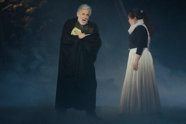Plácido Domingo (Francesco Foscari) y Guanqun Yu (Lucrezia Contarini) en uno de los ensayos de I due Foscari