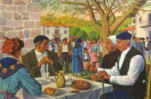 """Mauricio Flores Kaperotxipi (1901-1997): """"Merienda en la fiesta del pueblo"""". Su pintura recrea esencialmente los tipos y costumbres rurales del País Vasco."""