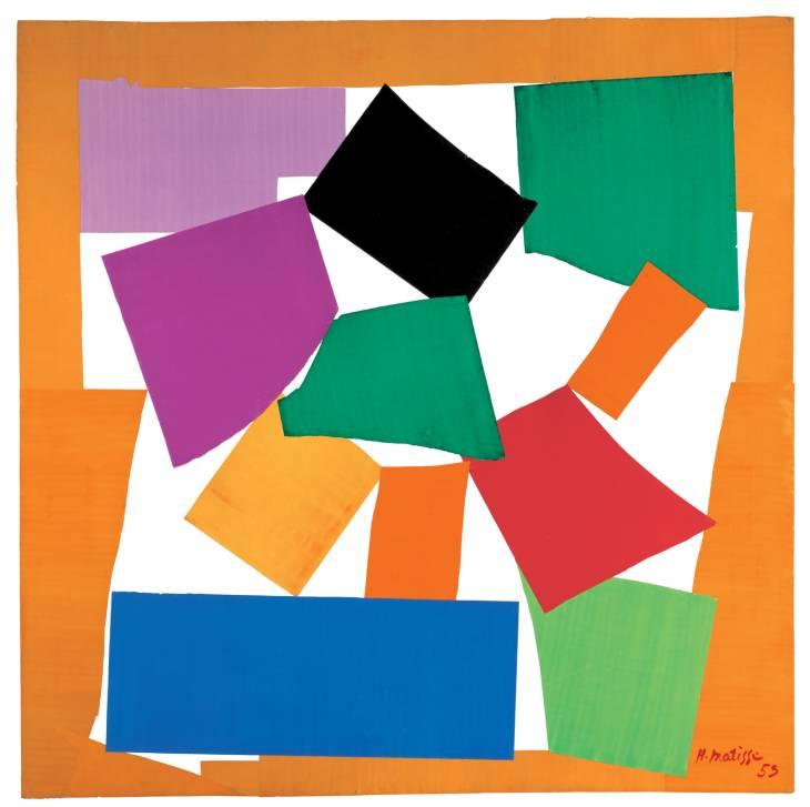 El Caracol, 1953.  Gouache sobre papel, cortado y pegado sobre papel montado sobre lienzo. Colección Tate Gallery.