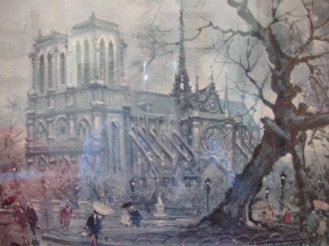 La catedral de Notre Dame en una antigua litografía francesa.