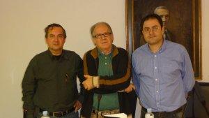 Rafael Marín, Atilano Sevillano y David Acebes, en la Casa de Zorrilla de Valladolid.