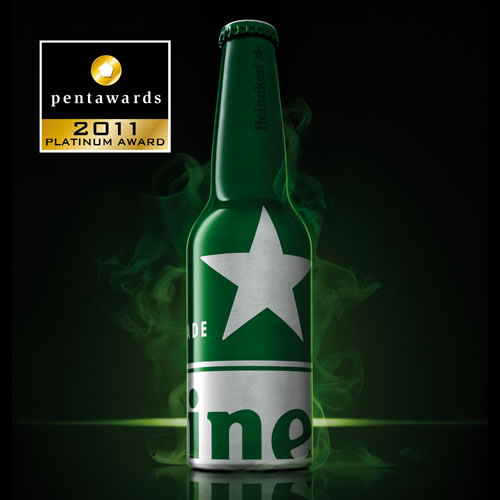 The Platinum Pentawards, crowning the best packaging in the 5 major categories, are awarded to: Beverages category: dBod (Holland), for the Heineken STR bottle, an aluminium bottle which reacts at night to UV light.