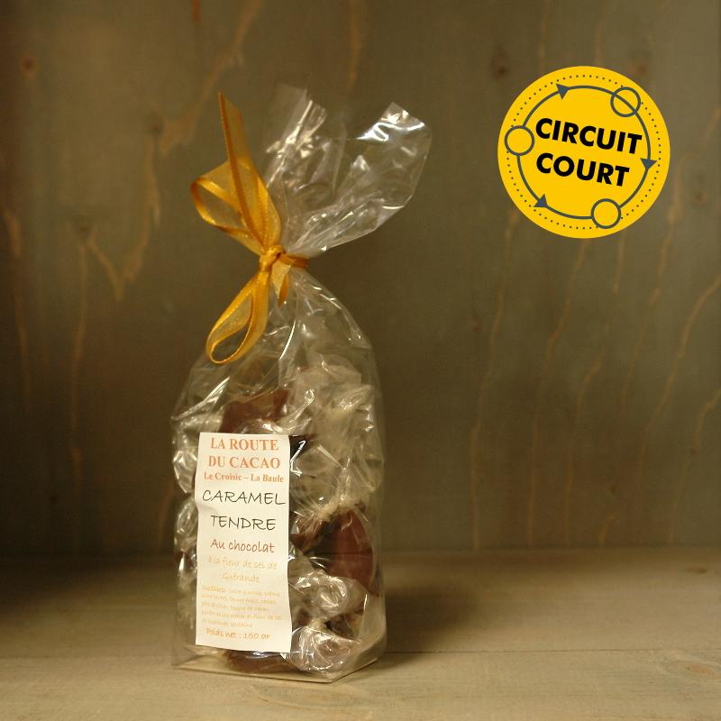 La Route du Cacao - caramel tendre chocolat à la fleur de sel de Guérande 150g