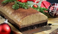 Bûche de Noël vegan choco-marrons