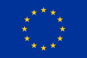 EU flag: Blue background with yellow stars in a circle