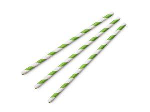 Standard green stripe 6mm paper straw, 7.8in