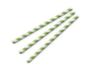 Jumbo green stripe 8mm paper straw, 7.8in