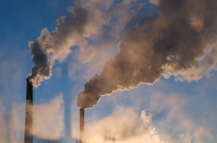 Air pollution typified by carbon emissions