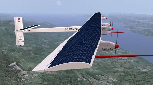 The Solar Impulse in flight  Solar aircraft completes Atlantic Ocean crossing Solar Flight