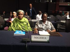 Environment Minister, Laurentia Mallam (right), with the Permanent Secretary in the Federal Ministry of Environment, Rabi Jimeta, during the 5th GEF Assembly in Cancun, Mexico. Behind them is Assistant Director and GEF Desk Officer, Halima Kolo Mohammed