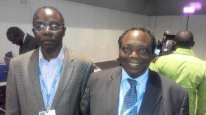 Kayode Fagbemi (Deputy Director, National Emergency Management Agency) (left) with Prof. Adeniyi Osuntogun (former Vice-Chancellor, Obafemi Awolowo University, Ile-Ife & Founder, Resource Integrated Development Foundation)  Nigerian delegation to Lima COP 20 in photos IMG 20141208 181407 300x168