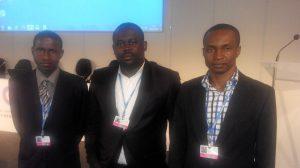 Yankuzo Bello Sani (Senior Scientific Officer) (left), Umegbo Chukwunonso Douglas (Scientific Officer) (middle) and Ibeneme Sylvester Uchechukwu (Senior Scientific Officer)  Nigerian delegation to Lima COP 20 in photos IMG 20141208 191033 300x168