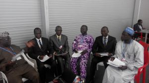 Prof. Olukayode Oladipo (left) stressing a point to (from left) Prof Daniel Gwary, Prof Mohammed Balarabe, Prof Ayuba Kuje, Prof Francis Adesina and Alhaji Aliyu Musa Yauri, during a meeting  Nigerian delegation to Lima COP 20 in photos IMG 20141209 162935 300x168