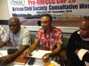 Sam Ogalah (middle), Robert Chimambo and Mike Kitivo leading the Pre-COP workshop in Lima, Peru  Africa eyes comprehensive 2015 draft as Lima climate talks begin Pacja 300x223