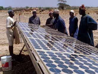 A solar panel being prepared for use. AREI aims to add an additional 10 GW and 300 GW of renewable energy capacity to the African energy sector by 2020 and 2030 respectively. Photo credit: greenchipstocks.com