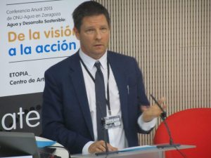 Gavin Power, Deputy Director of the UN Global Compact and Head of the CEO Water Mandate speaking during the conference. Photo credit: Water Journalists-Africa  New guidelines for companies to respect human rights to WASH launched ceo 300x225