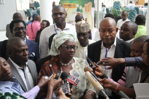 Minister of Environment, Mrs Laurentia Mallam, talking to the press. On her left is Ewah Eleri, Executive Director of the International Centre for Energy, Environment & Development (ICEED) and Coordinator of the Nigerian Alliance for Clean Cookstoves