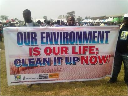 A banner by the Ogoni Cleanup Campaign. Photo credit: saction.org  Time to fast-track the Ogoniland clean-up ogoni celebrates