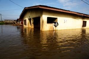 A flooded neighbourhood in Lagos, Nigeria