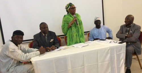 Permanent Secretary, Ministry of Environment, Mrs Fatima Nana Mede, flanked by (from left): Prof Francis Adesina of the Obafemi Awolowo University, Ile-Ife; Prince Lekan Fadina of the Centre for Investment, Sustainable Development, Management & Environment (CISME); Dr Samuel Adejuwon, Director, Department of Climate Change, Federal Ministry of Environment; and Mr Kassim Bayero, Director, Department of Pollution Control & Environmental Health, Federal Ministry of Environment