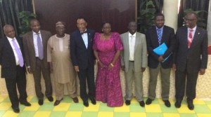 Left to Right: Aniefon Akpabio of the National Environmental Standards and Regulations Enforcement Agency (NESREA), Bennett Agube of the Nigerian National Petroleum Corporation (NNPC), Prof Emmanuel Olukayode Oladipo (Member, National Committee for COP 21), Ambassador Martins Uhomorbhi (Co-chair, National Committee for COP 21), Mrs L. Braide (Director, Human Resources, Federal Ministry of Environment), Dr Samuel Adejuwon (Director, Department of Climate Change, FME), Muyiwa Odele (representing Dr Pa Lamin Beyai, the UNDP Country Director) and Ifeanyi Nnodim of the Nigeria Meteorological Agency (NIMET)… at the Stakeholders Technical Workshop on the Development of Nigeria's INDCs, in Abuja on Wednesday, April 29, 2015