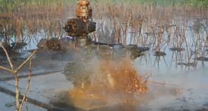 Oil spewing from busted Shell equipment in Nigeria