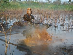 Oil spewing from busted Shell equipment in Nigeria. Photo credit: greengrants.org