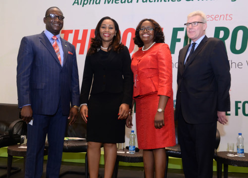 Left to right: Femi Akintunde, Managing Director/CEO, Alpha Mead Facilities & Management Services Ltd (AMFacilities); Udo Okonjo, CEO, Fine & Country West Africa; Wale Odufalu, GM Corporate Services, AMFacilities (and Chair, BIFM Nigeria); and Mr. John Strang, MD, Fine & Country, at the 2015 Edition of the Nigerian Facilities Management Roundtable sponsored by AMFacilities in Lagos.